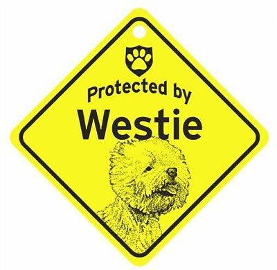 Protected by  Westie  Dog Car Window Sign