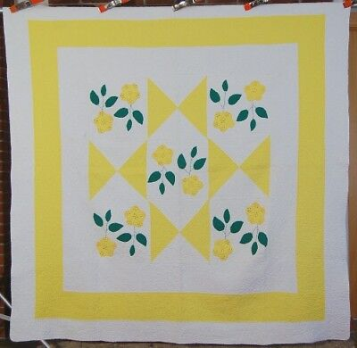 WELL QUILTED 30's Floral Applique Quilt ~NICE YELLOW!