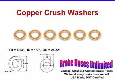 "Copper Crush Washers - 1/2"" Id"