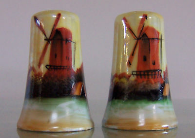 Vintage HAND DECORATED WINDMILL Salt and Pepper Set