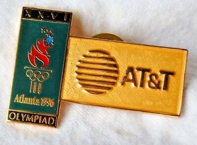 1996 Atlanta Olympics Collectible Lapel Pin At&T Torchâ Olympiad Green