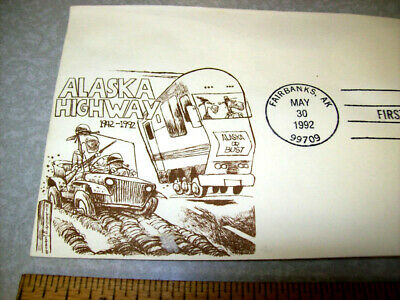 Alaska Highway First Day Cover Fairbanks 1992 Brown