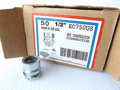 """Box Of 50 American Fittings Ec750Us ½"""" Emt Compression Connector"""
