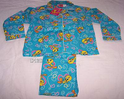 Looney Tunes Tweety Girls Blue Hearts Printed Flannel Pyjama Set Size 4 New