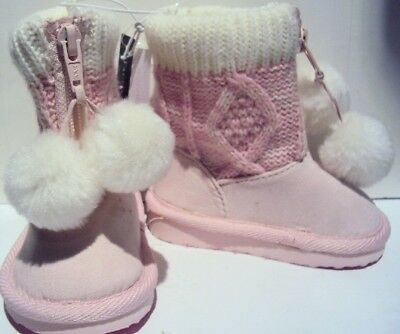 Infant Girls Faded Glory Brand Light Pink & White Sweater Top Boots Pompoms  3