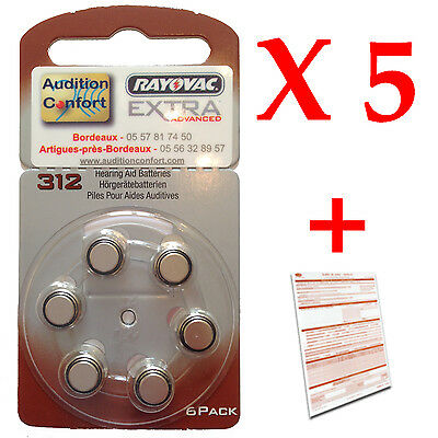 30 hearing aid batteries, Rayovac size 312 A312