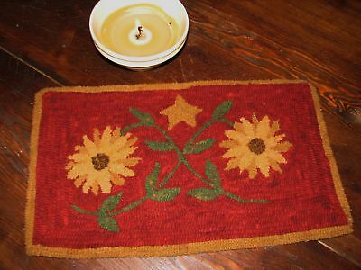 "Primitive Hooked Rug Pattern On Monks ~ ""Tangled Sunflowers"""