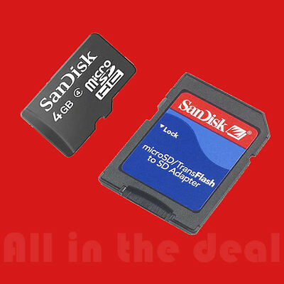 Lot of 5 Sandisk 4GB MicroSD SD HC Class 4 Memory Card total 20GB