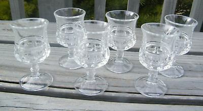 CLEAR GLASS KING'S CROWN THUMBPRINT 2oz LIQUOR GOBLET