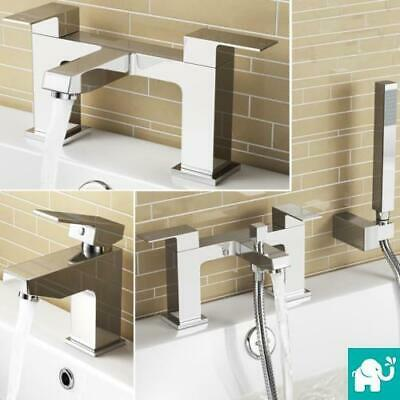 Keila Square Modern Bathroom Taps Basin Mixer Bath Filler Tap Chrome Shower