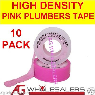 Thread Seal Tape - 10 X High Density Pink Plumbers 10M