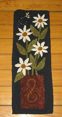 """Primitive Hooked Rug Pattern On Monks ~ """"what A Crock...of Flowers"""""""