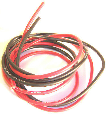 14AWG 14 AWG RC Car Flexible Silicone Wire Cable 1m 100cm 1 Meter Black & Red