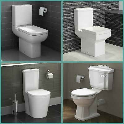Bathroom Toilet Close Coupled Traditional Back to Wall Pan Seat Ceramic WC White