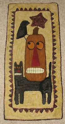 "Primitive Hooked Rug Pattern On Monks ""Fall Friends"""