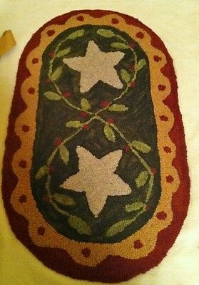 "Primitive Hooked Rug Pattern On Monks ""prim Stars"""