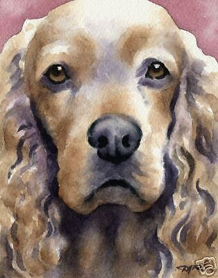 COCKER SPANIEL Painting Dog ART 11 X 14 Signed DJR