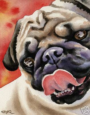 PUG Painting Dog ART 11 X 14 LARGE Print Signed DJR