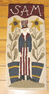 "Primitive Hooked Rug Pattern On Monks ~ ""sam"""