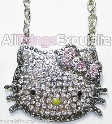 Extra Large HELLO KITTY Pink Swarvoski Crystal Necklace