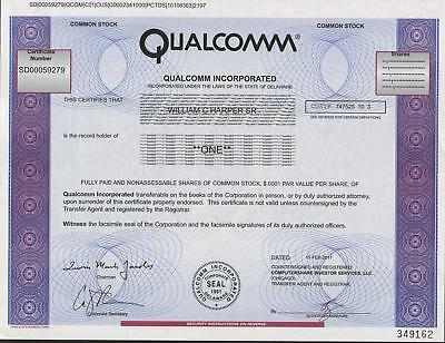 USA QUALCOMM INC stock certificate 2011COMMON STOCK