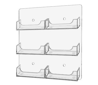 Clear 6 pocket wall mount business card holder rack Hanging Made in USA