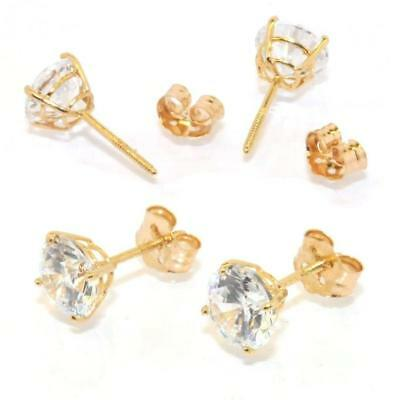 Solid Round Stud CZ Earrings ScrewBack 14K Yellow Gold