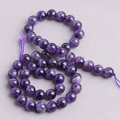 8mm X 15'' Natural Amethyst Round Gemstone Loose Beads