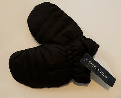 Boys Faded Glory Black Thinsulate 80 gram Water Resistant Snow Mittens Small