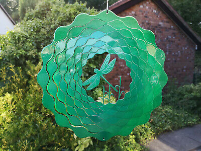 "IRON STOP LARGE STEEL 12"" -30cm DRAGONFLY GREEN WIND SPINNER + HOOK"