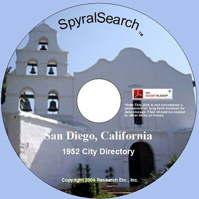 CA - San Diego 1952 City Directory CD Search