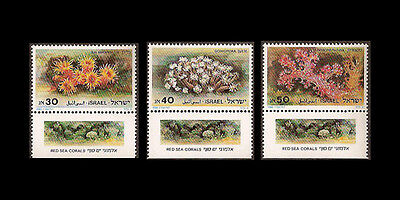 ISRAEL 1986 RED SEA CORALS #932-934 TABS MNH