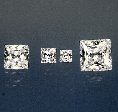 White / Clear Square Princess Cubic Zirconia CZ 2-5.8mm