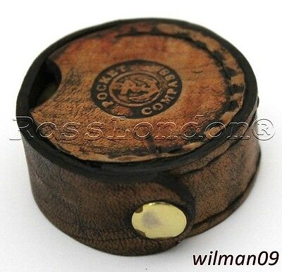 Brass Pocket Compass with Leather Box Antique Repro