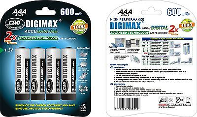 4 x AAA 600 mAh CORDLESS PHONE RECHARGEABLE BATTERIES