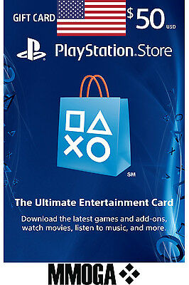 PSN Network Card $50 Dollar - 50 USD Playstation USA Store Key PS 3 4 Vita - US