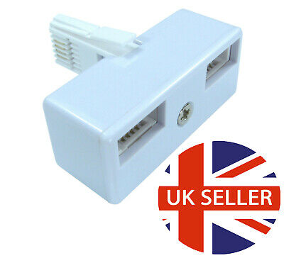 BT double telephone Phone socket 2 way Splitter Adapter