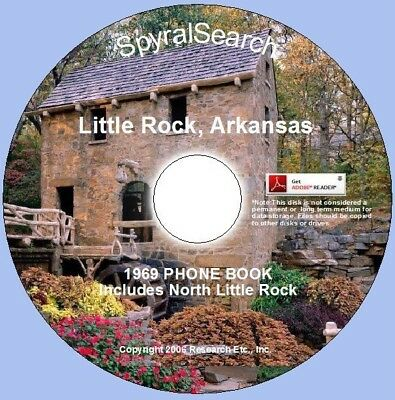 AR - LITTLE Rock - North Little Rock 1969 Phone Book CD - pdf files