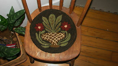 "Primitive Hooked Rug Pattern On Monks ""Butter Mold Series 2 Flowers"""