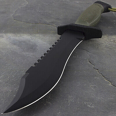 "12"" COMBAT TACTICAL SURVIVAL HUNTING KNIFE w/ SHEATH MILITARY Bowie Fixed Blade"