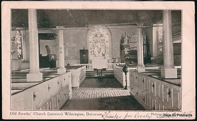 WILMINGTON DE Old Swedes Church Interior Antique B&W PC