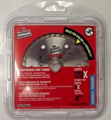 "Vermont American 28161 4"" Continuous Rim Turbo Diamond Saw Blade"
