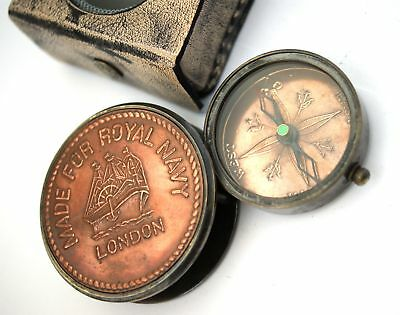 Brass & Copper Slide Compass w Leather Box - Royal Navy