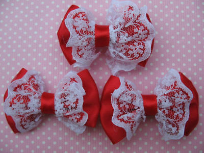20 Satin Ribbon Hair Bow Lace Applique-Red