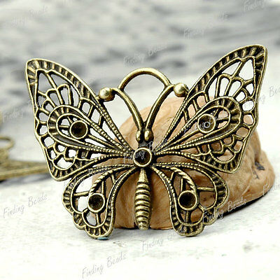10* Butterfly Pendants antique brass vintage TS4229-4