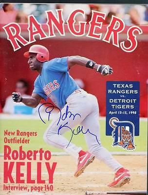 Signed Rangers Roberto Kelly Autographed Game Magazine
