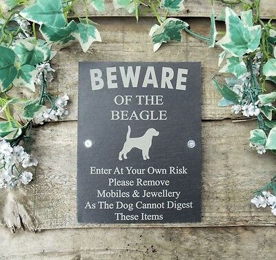 Humorous Beware Of The Beagle Slate Dog Plaque