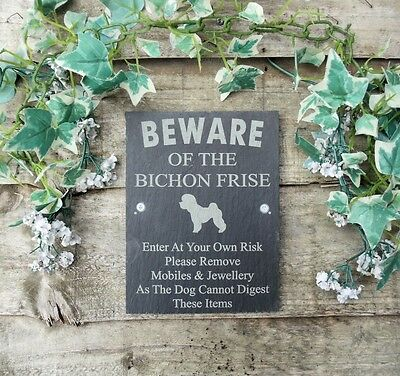 Humorous Beware Of The Bichon Frise Slate Dog Plaque
