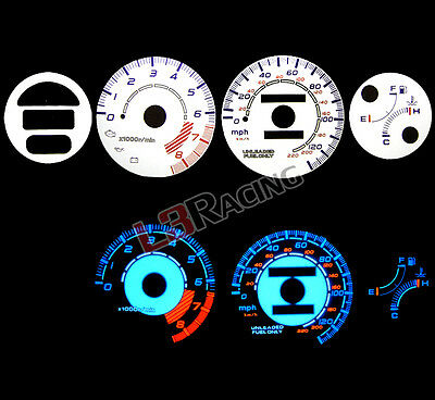 White Face Reverse Indiglo Glow Gauge MPH Kit For 93-97 Honda Del Sol w/Tach