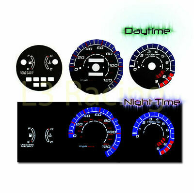 Black Face Reverse Indiglo Glow Gauge MPH Kit For 92-95 Honda Civic LX EX Si MT